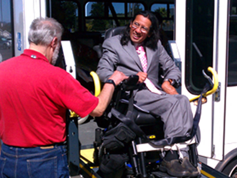 Ride-On Transportation transporting an individual in a wheelchair